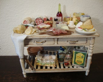 dollhouse Miniature table set up. with Italian cheese and salami
