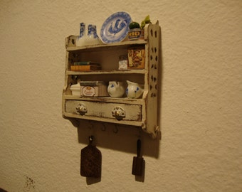 dollhouse  miniature panel box with drawers.