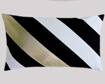 "Decorative Pillow Case, Diagonal Striped Black-White Cotton Lumbar pillow case with a Bright Gold fabric accent, fits 12"" x 20"" insert"