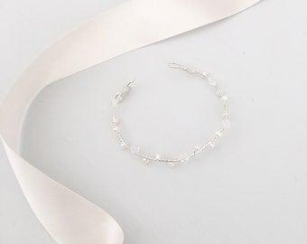 Freshwater pearl wedding bracelet, Crystal wedding bracelet, Freshwater pearl bridal bracelet