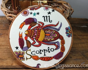 Zodiac Scorpio Embroidery Hoop Art Wall Hanging OOAK  Ready to Ship