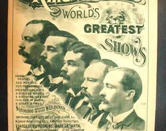 Original Ringling Brothers circus program July 20, 1895 , PART 1 circus collectible memorabilia