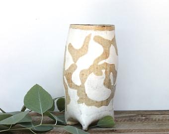 Handbuilt Tripod Vase, Handmade Ceramic Vase, Tripod Vase, Stoneware Pottery Vase