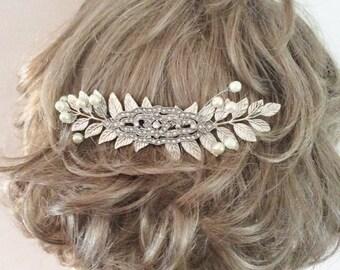 BRIDAL COMB Art deco hair comb leaf hair comb pearl hair comb rhinestone hair comb leaf comb