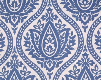 "Two 96"" x 50""  Custom Curtain Panels -  Ogee Geometric Blue"