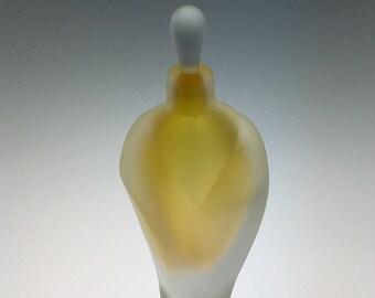 Hand Blown Glass Perfume Bottle - Sandblasted Gold Topaz Overlay  by Jonathan Winfisky