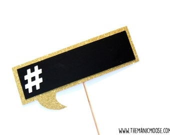Photo Booth Props ~ Wedding Props ~ Chalkboard Hashtag ~ You Choose Glitter Color