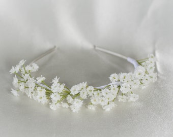Babys Breath Bridal Flower Headband-  Gold or Silver-  Floral Headpiece for Wedding / Engagement Photos