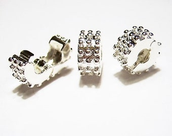 2  Bright Silver, Baby Spikes, Clip, Lock, Stopper Beads  for European Charm Bracelets, Clip on, Silicone Rings Included