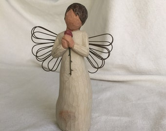 Susan Lordi angel Willow Tree Loving Angel Demdaco carved wood style with wire wings