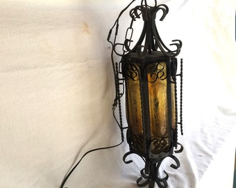 Mexican hacienda chandelier Spanish Revival wrought iron & Craquelle glass Gothic church swag pendant ceiling fixture Southwestern 1940s #4