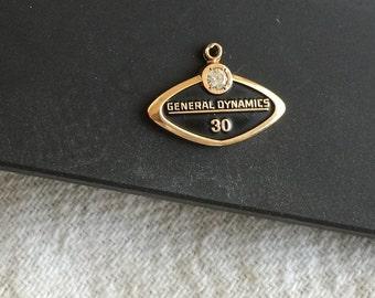 General Dynamics 14k gold charm pendant fob vintage 14k gold black enamel diamond 30-YEAR award