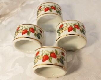 Set of 4 Vintage~ Avon Strawberry~ Napkin Rings Gold Trim - Made in Brazil