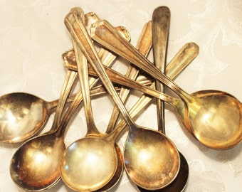 Soup Chowder,Gumbo spoons -10 Round Silver plated Spoons
