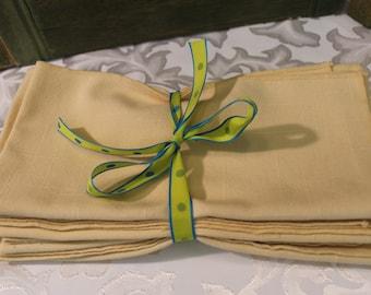 Cloth Napkins Beautiful Pastel Yellow Set Of Four