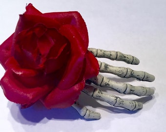 Red Rose Skeleton Hand Clip, Skeleton hand, Hand clip, Day of the dead clip
