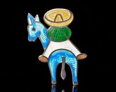 Jeronimo Fuentes vintage Mexican silver and enamel Pin Brooch sterling Margot de Taxco burro and man design