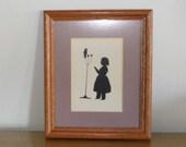 Vintage Framed Silhouette, Little Girl with Parrot Bird