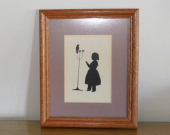 Vintage Framed Silhouette, Little Girl with Parrot Bird
