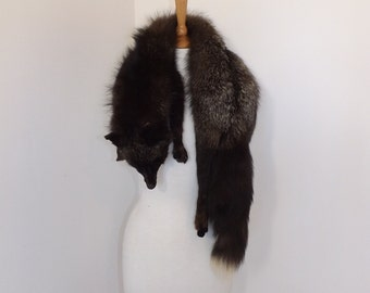 Vintage 1940s real silver frosted fox fur stole wrap scarf very fluffy with head and legs full pelt (3)