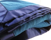 Crib Sized Organic Thermal Blanket with Satin Trim - Indigo Blue and Navy, Ready to Ship