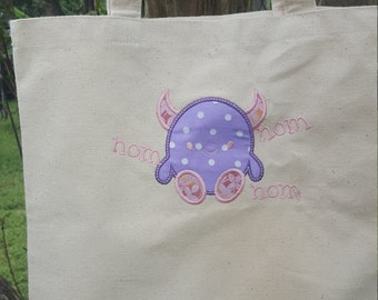 Sweet Monster Treat tote! Nom Nom Nom. Sturdy sack for all the goodies this month. Personalization available!