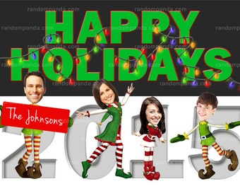 Personalize Funny Christmas Elf Holiday Card, Elves Family Portrait