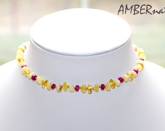 Baltic Amber Baby Teething Necklace with Certificates of Amber Authenticity