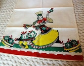 Vintage Linen Tea Kitchen Towel Spanish Lady Anthropomophic Fruit