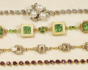 4 Amazing Vintage Rhinestone Bracelets
