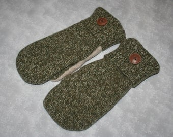 Upcycled Wool Mittens fleece lined from Recycled Wool Sweaters Green Upcycled Sweater Mittens-Womans Accessories