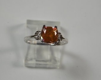 Orange Mystic Topaz and Diamond Ring 1.56Ctw White Gold 14K 2.3gm Size 6 Vintage Ring