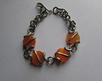 "Vintage Silver Chain Link Bracelet with Silver wrapped Orange Glass Marbled Beads, 7"" bracelet, Old Bracelet, Marbles"