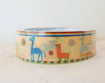 Friendly Animals Deco Tape Roll Llama Elephant Giraffe Kid 25mm x 12 meters