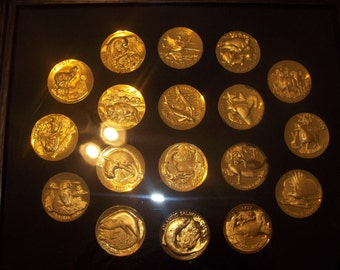 24-karat Gold electroplated on Sterling Silver 18 Wittnauer Medallions,  Wittnauer Percious Metals 1972, America's Natural Legacy Series