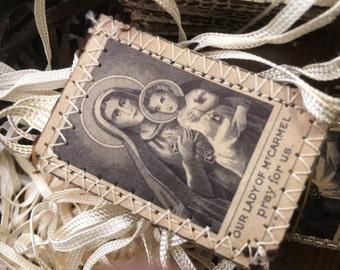 1 Set Vintage White Scapulars Our Lady Mt Carmel Simon Stock Catholic Old Stock