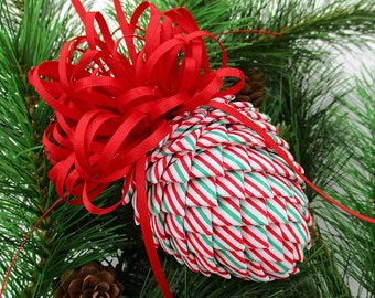 Fabric Pinecone Ornament - Red and Green Stripes on White with Red Satin Bow - Christmas Ornament, Stocking Stuffer, Co-Worker Gift