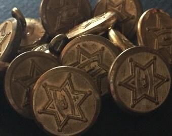 Brass STAR Buttons - Set of SIX (6) - Vintage POLICE Buttons - Uniform Buttons