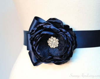 Navy Blue Single Flower Wedding Ribbon Sash/ Bridesmaids Sash/ Handmade Accessory