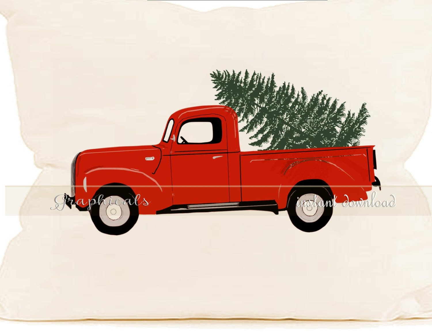 Christmas red truck Tree instant clip art digital by ...