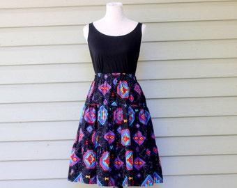 1980s Southwestern print midi skirt. Size S/M