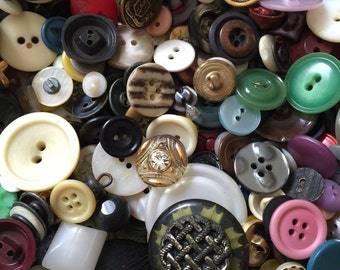 Bulk Lot of Buttons - 1930s to 1980s - 4-1/2 LBS. Vintage Buttons