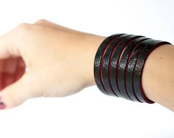 Leather Bracelet / Original Sliced Cuff / Dark Side