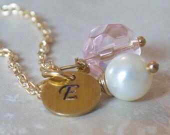 Pink Bridesmaids Jewelry Personalized Bridesmaid Gift Monogram Initial Jewelry Blush Pink Necklace Blush Wedding Jewelry Pink Wedding