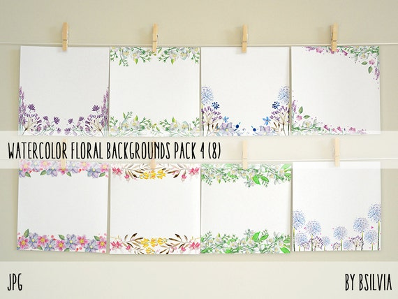 Watercolor Floral Backgrounds with Text Space, Watercolor Flowers Backgrounds Pack 4, Watercolor Papers for Digital Scrapbooking