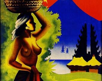 Bali Indonesia Vintage Travel Advertisement Art Poster Print