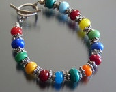 Handmade artisan lampwork bead glass bracelet by fire forged studio