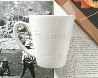 Frankenstein Mug Engraved, Mary Shelley Quote, Classic Books Mug, Book Lover Mug, Literary Gift, Gothic Literature, Book Mug, Coffee Cup
