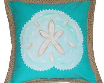 Turquoise Sand Dollar Hand Painted Pillow Cover