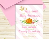 Fall in Love Pumpkin Baby Shower Invitation Pink Girl Gold Glitter Invite